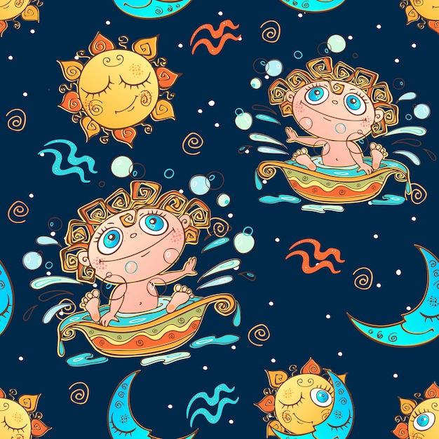 A fun seamless pattern for kids. zodiac sign aquarius. Premium Vector