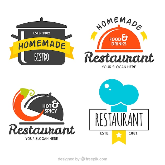Fun set of flat restaurant logos Premium Vector