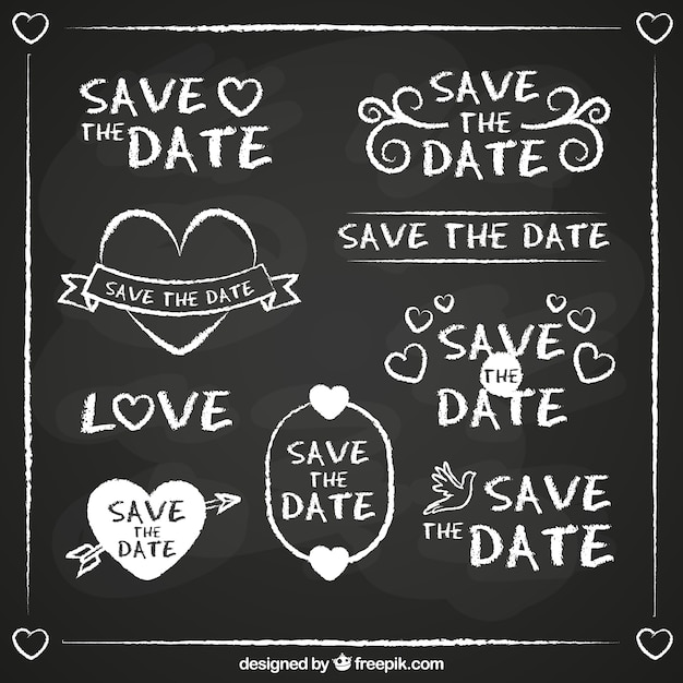 Fun set of blackboard wedding labels