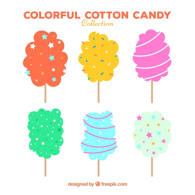 Fun set of colorful cotton candy