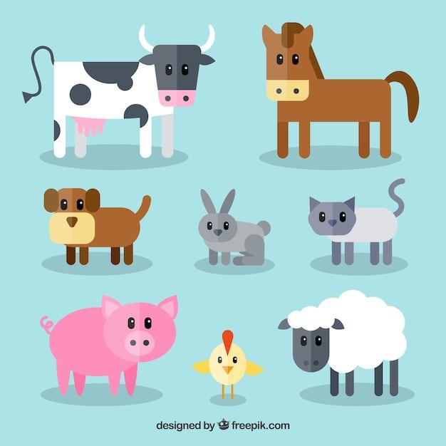 fun set of cute farm animals vector free download