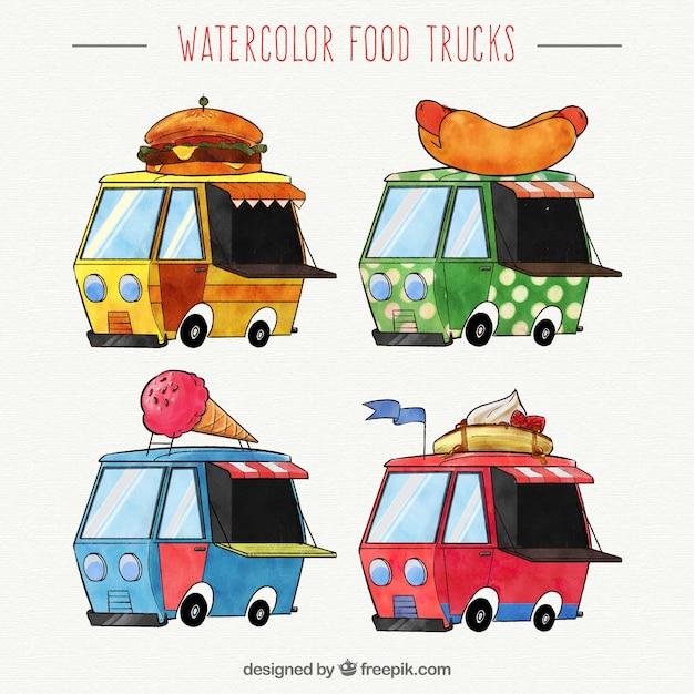 Fun set of watercolor food trucks