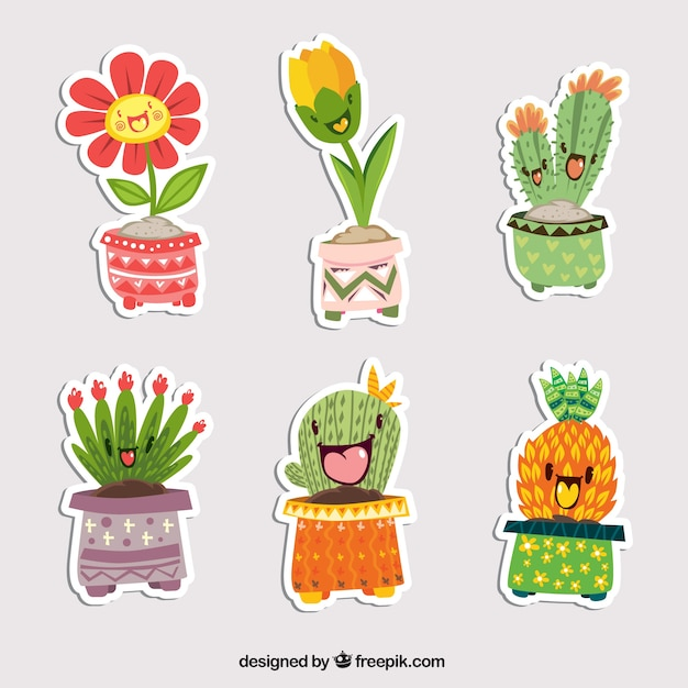 Fun set of plants stickers Premium Vector