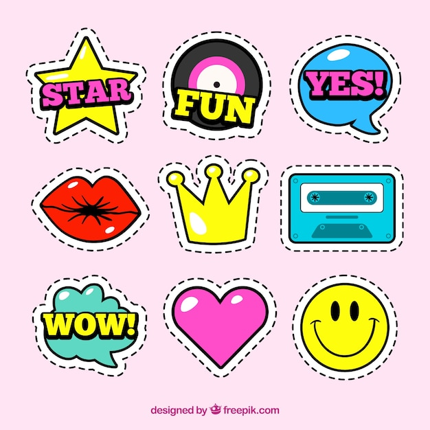 Fun set of stickers with comic style Free Vector