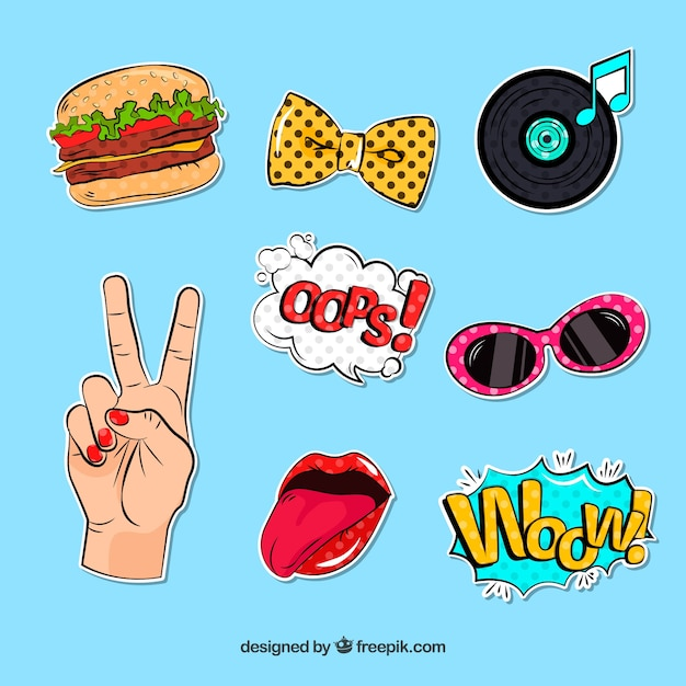 Fun stickers with pop art style Free Vector