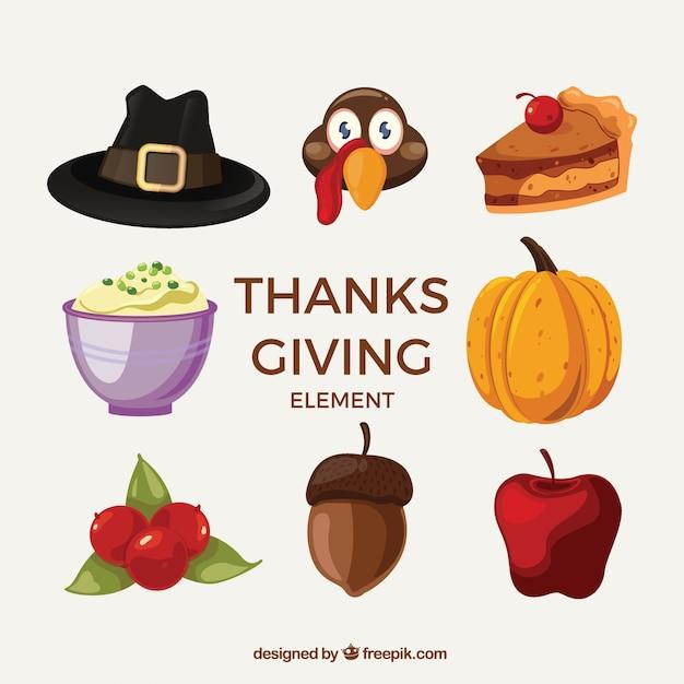 Fun thanksgiving collection Free Vector