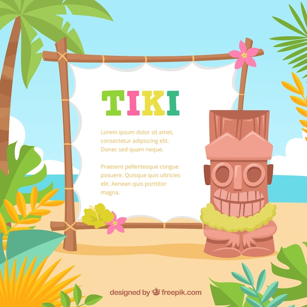 Hawaii vectors photos and psd files free download fun tiki totem with poster on the beach stopboris Gallery