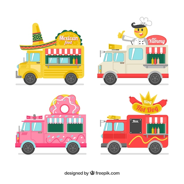Fun variety of flat food trucks