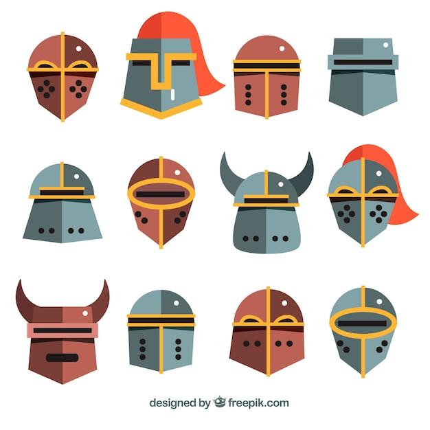 Fun variety of flat kinght helmets