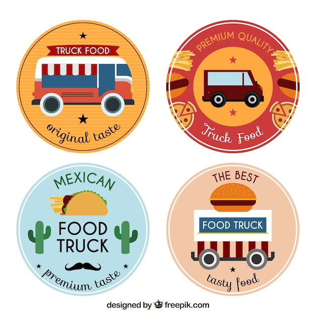 Fun variety of food truck logos