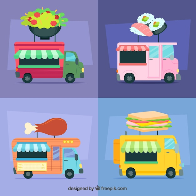 Fun variety of food trucks with flat\ design