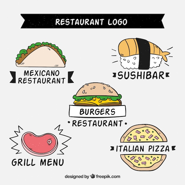 Fun variety of hand drawn restaurant logos
