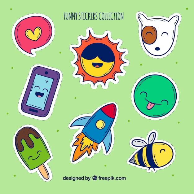 Fun variety of hand drawn stickers