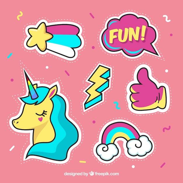Fun variety of lovely stickers Free Vector