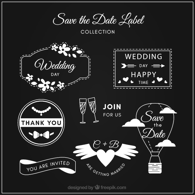 Fun wedding labels on blackboard