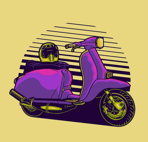 Fun with scooter Premium Vector