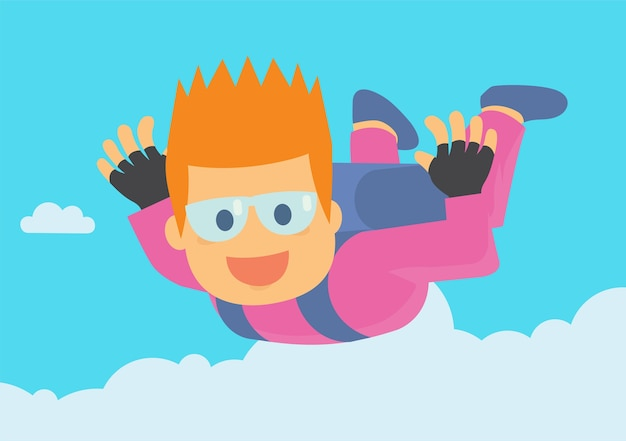 Fun young boy enjoying sky diving jump off from the plane Premium Vector