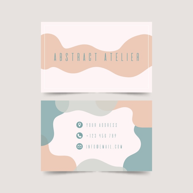 Funabstract business card template with pastel-colored stainsny graphic designer business card template Free Vector