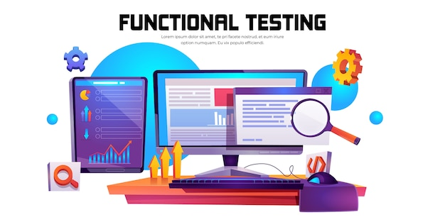 Functional testing banner. methodology of programming Free Vector