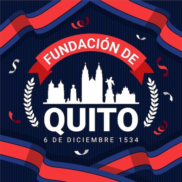 Fundacion de quito and flag 무료 벡터
