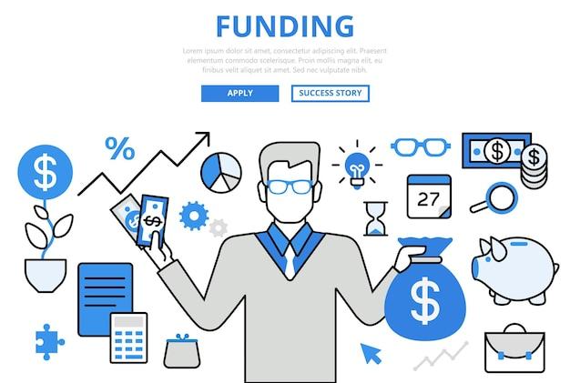 資金調達投資家金融ビジネス投資コンセプトフラットラインアートアイコン。 無料ベクター