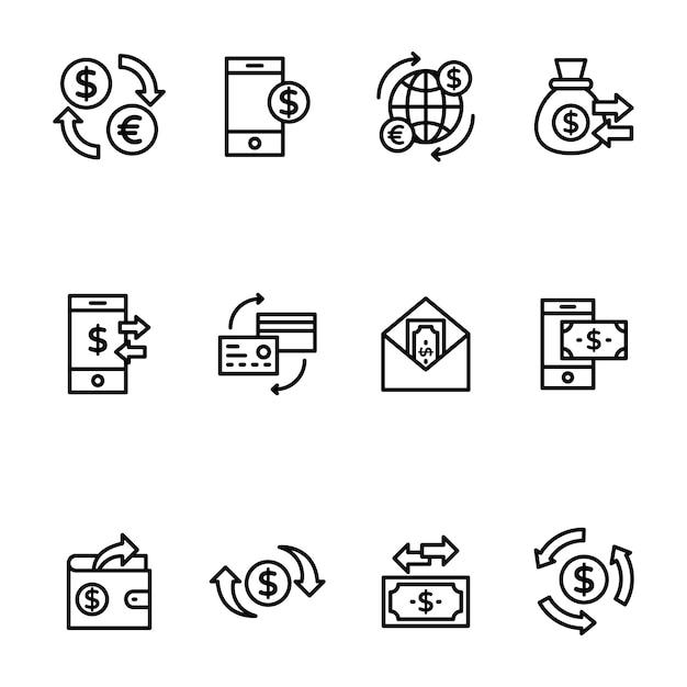 Пакет перевода средств в линейном дизайне Premium векторы