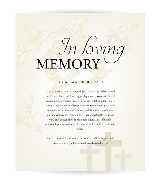Шаблон похоронной карты, старинный некролог с соболезнованиями с типографикой в любящей памяти, кладбищенские христианские кресты и летающие голуби над кладбищем. некролог мемориал, поминальная карта, некролог Premium векторы