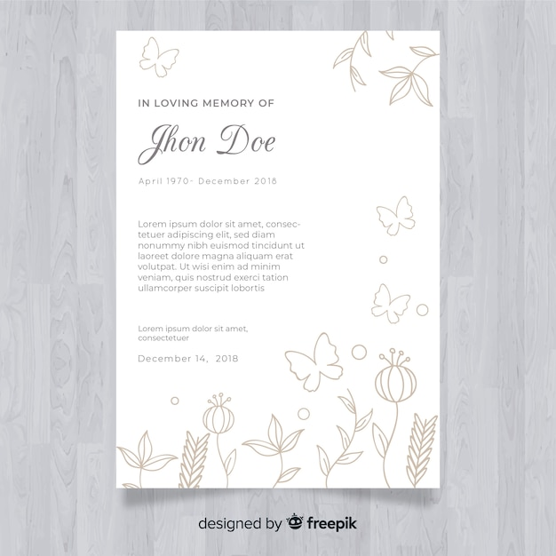 Funeral card template Vector | Free Download