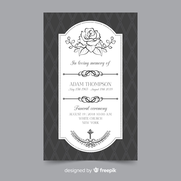Funeral Card Template Vector