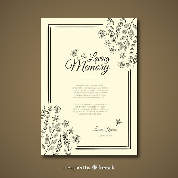 Funeral card template Free Vector