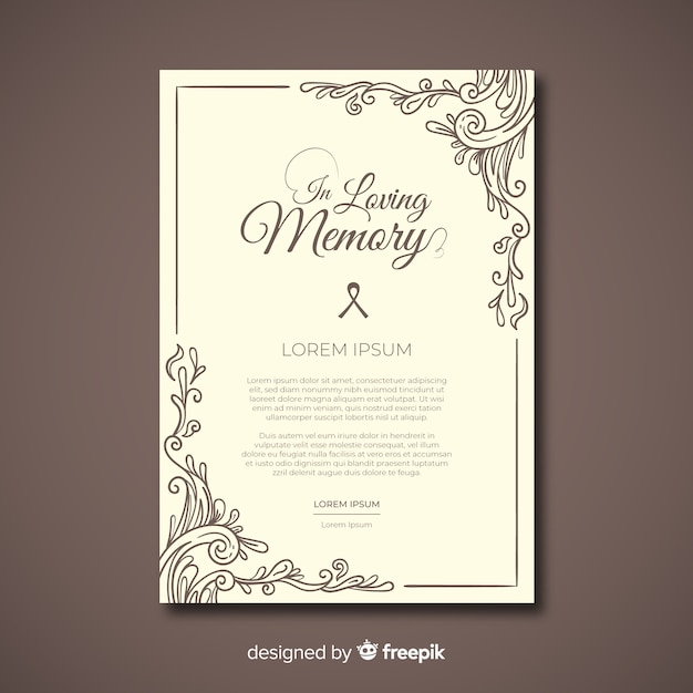 Funeral card template Premium Vector