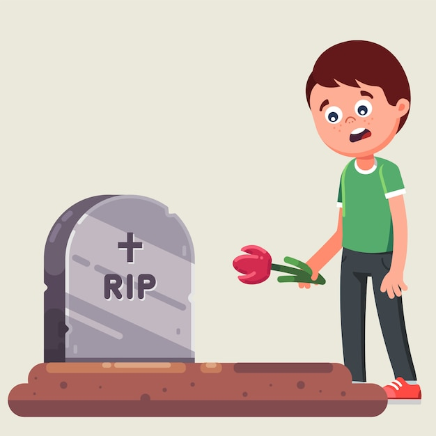 Funeral ceremony. farewell to the dead. laying flowers on the grave. flat vector illustration Premium Vector