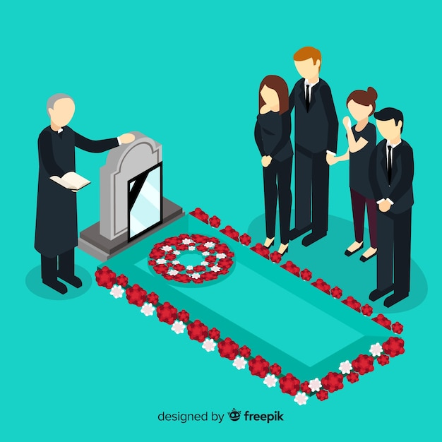 Funeral composition with isometric view Free Vector