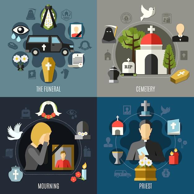 Set di icone di concetto funerale Vettore gratuito