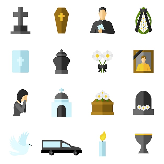 Funeral flat icons set Free Vector