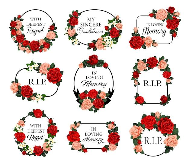 빨간 장미 꽃과 애도 장례식 프레임 프리미엄 벡터
