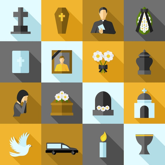Funeral icons flat set Free Vector