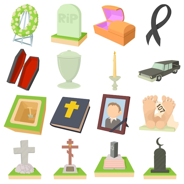 Funeral icons set Premium Vector