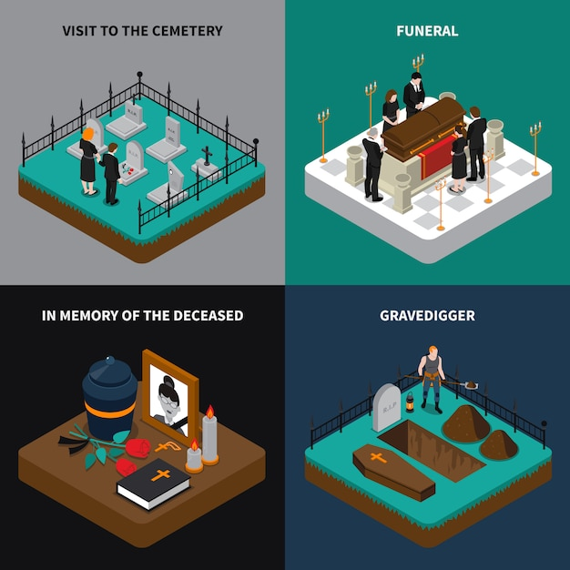 Funeral isometric concept Free Vector