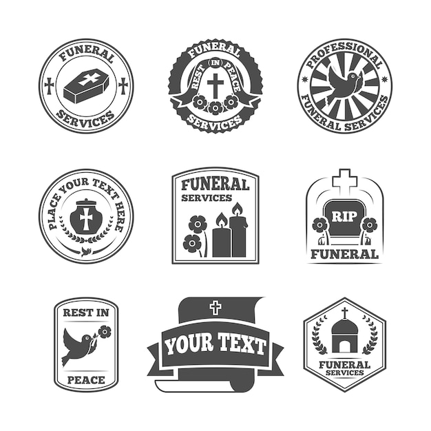 Funeral labels set Free Vector