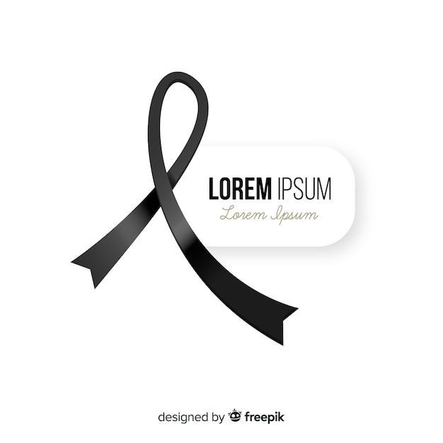 Funeral ribbon background Free Vector