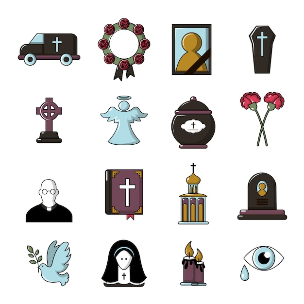 Funeral ritual service icons set Premium Vector