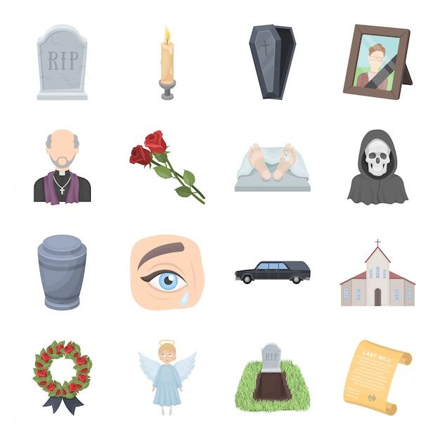 Funeral service  cartoon set icon. christian ceremony isolated cartoon set icon. illustration funeral service  . Premium Vector