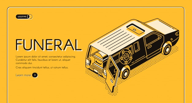 Funeral service isometric  web banner, landing page template. Free Vector