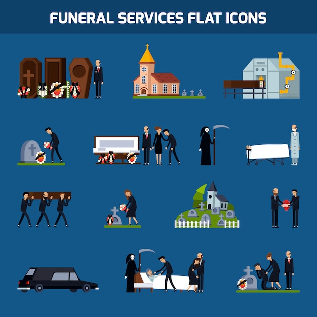 Funeral services flat icon set Free Vector