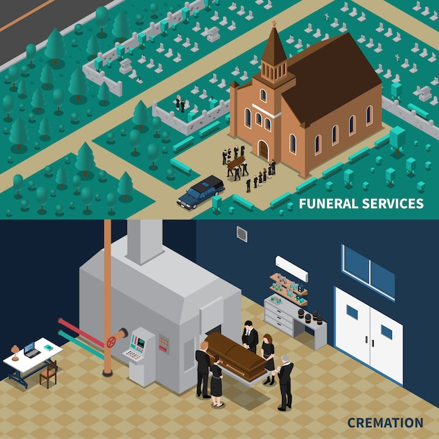 Funeral services isometric banners Free Vector