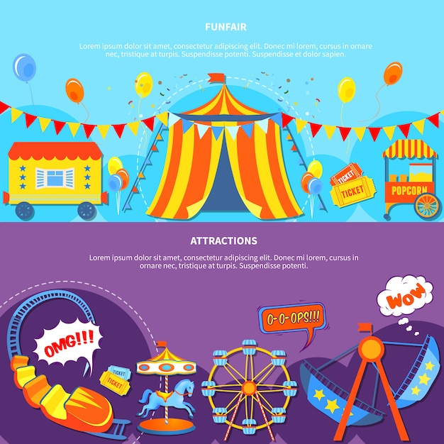 Funfair and attractions 2 flat banners Free Vector