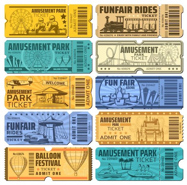 Funfair carnival and amusement park rides tickets Premium Vector