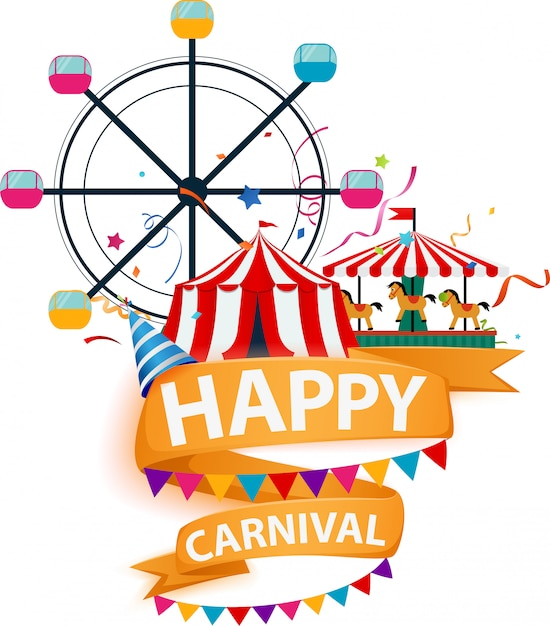 Funfair and carnival background Premium Vector