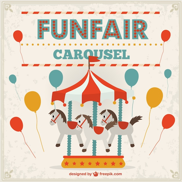 Funfair carousel and balloons Free Vector